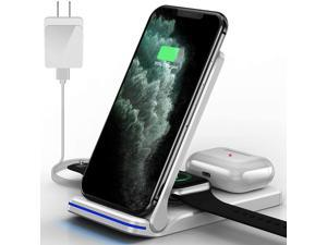 Wireless Charger, HYS, 3 in 1 Qi-Certified 15W Wireless Charging Station for Apple iWatch SE/6/5/4/3/2/1, AirPods Pro/2, Charging Stand for iPhone 12/11/X/XS/XR/Xs Max/8/8 Plus/Samsung (White)