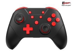GCHT Wireless Switch Pro Controller, Game Controller for Switch Remote Gamepad with Joystick, Vibration Turbo, Wake Up, NFC, Gyro Axis,Dual Shock (Black Red)