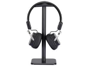 Headphone Stand Headset Holder  Earphone Stand with Aluminum Supporting Bar Flexible Headrest ABS Solid Base for All Headphones Size (Black)