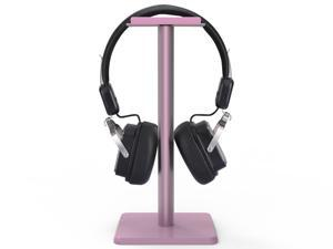 Headphone Stand Headset Holder  Earphone Stand with Aluminum Supporting Bar Flexible Headrest ABS Solid Base for All Headphones Size (Pink)