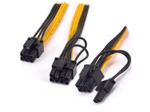 16AWG PCI-e 6Pin to 2 port 6+2pin Power supply Cable PCI express Graphics Card Dual 8pin male to 6 Pin Extension Mining Machine