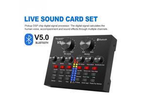 PC Laptop External Sound Card Bluetooth 5.0 Mixer Board Voice Changer Noise Reduction Multiple Effects Audio 3.5 mm Sound Card