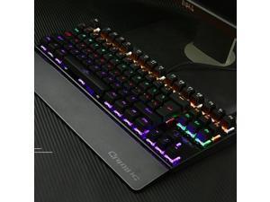 Mechanical Keyboard USB Wired Colorful LED Backlight 87 Keys Anti-Ghosting Gaming Optical Mechanical Keyboard