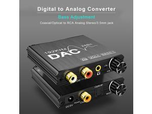 Portable 192kHz 24bit DAC Digital-to-Analog Converter Audio Coaxial Signal to RCA 3.5mm Jack Amplifier Support Volume Adjustment