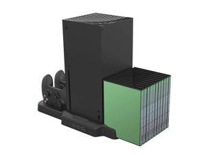 For Xbox Series X S Vertical Stand with Cooling Fan Dual Controller Charger Dock Station with 11 Game Slots For Xbox Series X S