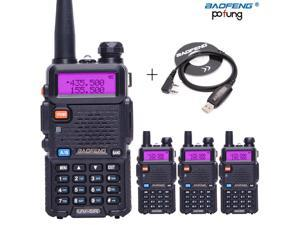 4pcs BaoFeng UV-5R Walkie Talkie VHF/UHF 136-174Mhz&400-520Mhz Dual Band Two way CB radio Baofeng uv 5r Portable+USB Cable+CD