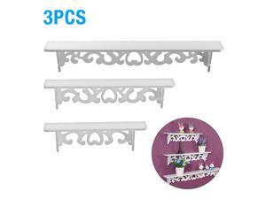 Floating Shelves Wall Mounted Racks Art Display Shelf Storage Rack Home Dining Room Bedroom Study and Office Perfect Decorations, White