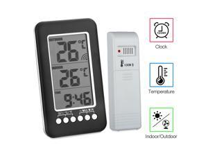 Wireless Digital Outdoor Indoor Thermometer Electronic Clock Temperature Meter for Home Office Baby Room