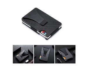 Portable Slim Money Clip Card Holder Carbon Fiber Metal Credit Cards Cash Wallet with RFID Technology, Black