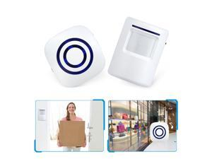 Entry Door Bell PIR Motion Sensor Wireless Detector Bells Switch Alarm Home Security with Infrared Detectors, White