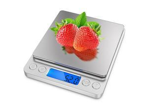 Food Digital Kitchen Scale Auto Off Baking Cooking Scales with LCD Display for Weighing Fruit Vegetable Jewelry, Silver
