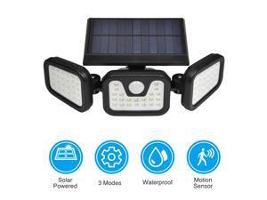 Outdoor Solar Motion Sensor Light Wireless 3 heads Waterproof Flood Lights 74 LED for Garden Garage Patio, Black