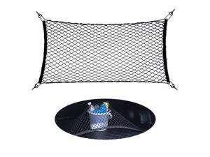 Universal Cargo Trunk Organizer Elastic Net Car Storage Polyester Stretch Mesh Nets with Nylon Hook Automobile Accessories, Black