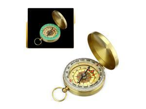 Portable Pocket Brass Watch Compass Hiking Navigation Retro Flip Cover Camping Boating Compasses, Coppery
