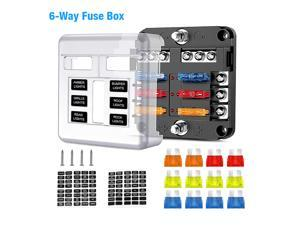 6 Way Fuse Box Block Holder with LED Indicator Universal Circuit for Automotive Auto ATC ATO Screw Connection Safety Box