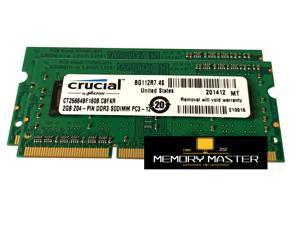 Crucial 4GB(2X2GB) CT25664BF160B.C8FKR (PC3-12800 (DDR3-1600), DDR3 SDRAM, 1600 MHz, 204-PIN CL11 SODIMM Laptop Memory