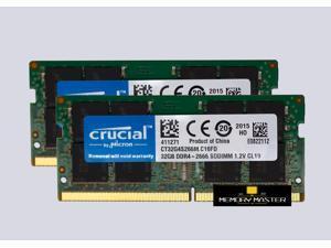 Crucial 64GB(2X32GB) 260-Pin DDR4 - 2666 Mhz SODIMM PC4-21300 Laptop Memory RAM CL22 CT32G4S266M.C16FD NEW