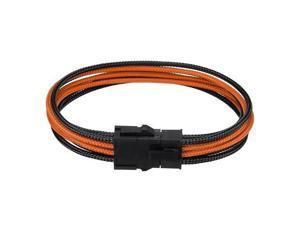 30cm PCI-E 8Pin(4+4) PSU CPU Extension Cable 8 Pin Extended Braided Power Cable Black Orange