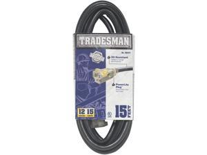 Woods 32472 12/3 15' SJTOW Heavy Duty Lighted Extension Cord for Indoor/Outdoor Use, Black