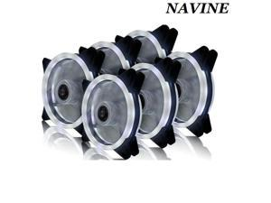 NAVINE 6 Packs 120mm PC Cooling Silent 15 LEDs Case Fans Computer Cooler Cooling, 120mm Quiet Dual Light Loop LED Fan, 3/4 pin 6 Colors LED Lighting (6pcs)