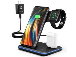 Wireless Charger+QC3.0 Adapter, 3 in 1 Qi-Certified 15W Fast Charging Station for Apple iWatch Series 6/5/4/3/2/1, AirPods 1/2,Charging Stand for iPhone 12/11 Series/XS MAX/XR/XS/X/8/8 Plus/Samsung