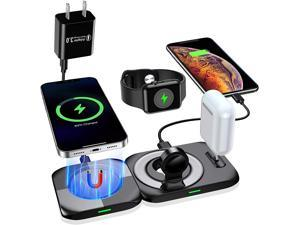 4 in1 MagSafe Wireless Charger, 18W Fast Magnetic Wireless Charging Station - Qi Wireless Charging Pad Stand for iPhone 12/Pro/Pro max/Mini/11 X XS XR/8, iWatch AirPods Pro(with QC3.0 Adapter)