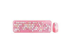 Mofii honey plus Keyboard Mouse Combo Wireless 2.4G Mixed Color 104 Key Keyboard Mouse Set with Honeycomb Keycaps for Girl Pink