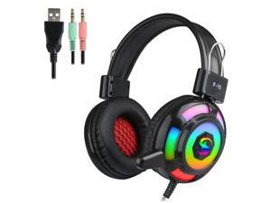 KUBITE Wired Headphones Over-Ear Gaming Earphones with RGB Light Super Dazzling Interface Wire Control with Microphone Computer Headset
