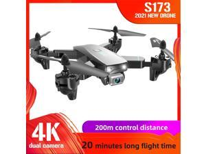 CSJ S173 RC Drone with Camera 4K Dual Camera WiFi FPV Foldable Quadcopter with Function Trajectory Flight Headless Mode 3D Flight Storage Bag Package 3 Battery