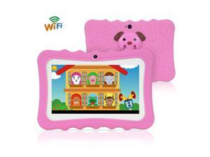 7 inch Kids Tablet Educational Learning Computer 1024*600 Resolution WiFi Connection with Silicone Case Green US Plug Pink