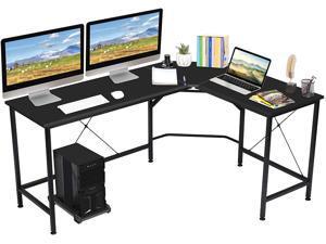 """L Shaped Computer Desk with CPU Stand,65"""" Modern Corner Desks for Home Office Workstation Wood & Metal Corner Desk Laptop Writing Desk Table"""