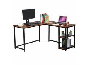 Industrial Rustic L Shaped Computer Desk with Shelves Home Office Gaming Table