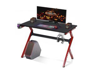 """43"""" Computer Gaming Desk Carbon Fiber Surface with Headset & Cup Holder PC Table"""
