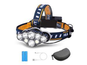 3300LM 8Modes 8LED Rechargeable Headlamp Flashlight with USB Cable 2 Batteries, Waterproof LED Head Torch Head Light with Red Light for Camping Fishing Car Repair Outdoor