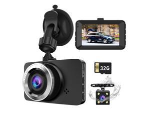 Dash Cam XUSHIDZ Car Camera Front and Rear Dual Lens Driving Recorder, Driving Recorder With SD Card, 1080P Full HD, 3.0-Inch Screen, Loop Recording, G Sensor, WDR, Night Vision, Motion Detection