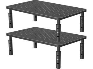 PUTORSEN Monitor Stand Riser with Vented Metal 3 Height Adjustable Dual Monitor Stand for Computer, Laptop, iMac, PC, Printer, Desktop Ergonomic Monitor Riser Stand with Non-Skid Rubber 2 Pack