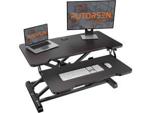PUTORSEN 32 inch ,Standing Desk Converter with Height Adjustable,Stand Up Desk, Ergonomic Sit Stand Dual Monitor and Laptop Riser Tabletop Workstation with Cable Hole Black