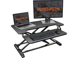 PUTORSEN Standing Desk Converter with Height Adjustable -32 inch Stand Up Desk, Ergonomic Sit Stand Dual Monitor and Laptop Riser Tabletop Workstation Black