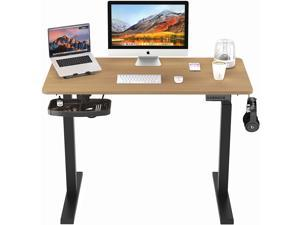 PUTORSEN Electric Height Adjustable Standing Desk, 48 x 24 Inches Sit Stand Home Office Table with Splice Board, White Frame/Cyan Chestnut Top Stand Up Computer Desk with Memory Preset Controller