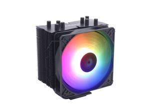 Aardwolf AP-465B-120ARGB CPU Cooler, 4 CDC Heatpipes, Addressable RGB Lighting CPU Air Cooler, 120mm PWM Fan, Aluminum Fins for AMD Ryzen AM4, Intel LGA 1151, 1200