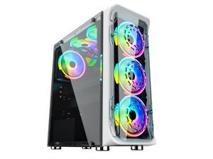 ALAMENGDA Crystal High Transparent Crystal Panel Design, ATX Mid-Tower, Digital-RGB Lighting, 120mm*6 RGB Case Fans Can Be Installed, Tempered Glass Computer Case
