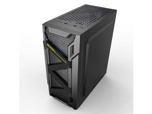 ALAMENGDAU Titan-High Airflow ATX Mid-Tower Case Fan, Digital-RGB Lighting, with 120mm*6 RGB Case Fans, Tempered Glass Computer Gaming Case