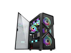 ALAMENGDA Cyber-High Airflow Honeycomb Full-metal Mesh Design, ATX Mid-Tower, Digital-RGB Lighting, 120mm*8 RGB Case Fans, Tempered Glass, Side window, Dual System Capable