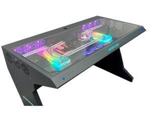 ALAMENGDA Full Tower Computer Case All-in-one Desk Case Desk / DIY Cool Transparent Built-in MOD / Large Computer Desk 38*30*32 inch