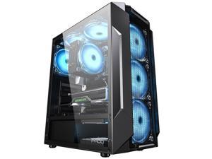 ALAMENGDA Iron Box High Airflow Honeycomb Carbon Fiber Filter Design Computer Case, ATX Mid-Tower, Digital-RGB Lighting, Acrylic Side Window, 6* RGB FANS, Black