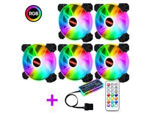 ALAMENGDA RGB Silent Fan 12cm Desktop Computer Case Fan Colorful Color Changing Case Fan, 5 pack