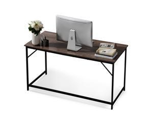 Ivinta Large Computer Desk, Modern Writing Desk for Home Office, Simple Wooden Study Desk, 55 inch Laptop PC Table for Living Room, Gaming Computer Desk with Black Metal Frame