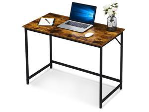 Ivinta Small Computer Desk, 39 inch Gaming Desk for Small Space, Modern Writing Desk for Living Room, Home Office Workstation, Study Desk with Black Metal Frame