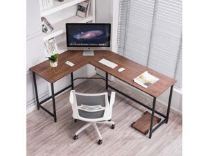 Ivinta Computer Desk Gaming Desk L Shaped Desk Office Desk Corner Desk Modern Writing Desk Executive Desk PC Gaming Desk Study Desk for Small Space (Brown)