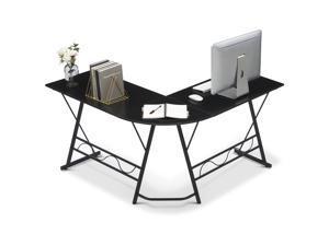 Ivinta L-Shaped Computer Corner Desk, 49.6 inch Black Home Office Desk, Modern Gaming Desk, Writing Table Workstation Desk for Small Space